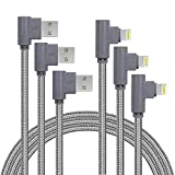 10FT 3 Pack [The Most Durable Cable] Right Angle iPhone Charger Cord 90 Degree Fast Data Cable Nylon Braided Compatible with iPhone Xs Max/XS/XR/7/7Plus/X/8/8Plus/6S/6S Plus/SE (Gray, 10FT)