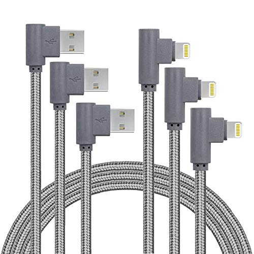 - 10FT 3 Pack [The Most Durable Cable] Right Angle iPhone Charger Cord 90 Degree Fast Data Cable Nylon Braided Compatible with iPhone Xs Max/XS/XR/7/7Plus/X/8/8Plus/6S/6S Plus/SE (Gray, 10FT)