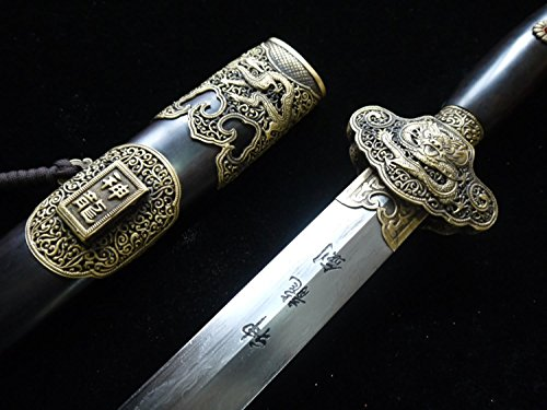 Chinese sword,Dragon Sword(Damascus steel,Ebony scabbard,Brass fitted)Full tang,Length 39
