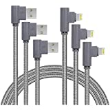 3 Pack 6FT 90 Degree iPhone Charging Cable 2.4A Super Fast Charging Cable Compatible with iPhone X/8/8 Plus/7/7 Plus/6/6 Plus/6S/6S Plus/5/5S/SE,iPad,iPod (Gray, 6FT)
