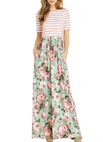 MEROKEETY Women's Striped Short Sleeve Floral Print Summer High Waist Pockets Maxi Dress, Mint, Large