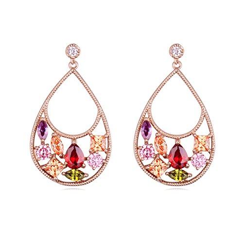 Multicolored Austrian Crystal - Teardrop Rose Gold Plated Multi-colored Austrian Crystal Dress Earrings Set