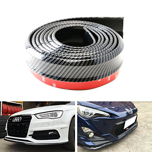 iJDMTOY Universal PU Front Bumper Lip Splitter Chin Spoiler Body Kit Trim, 8ft (2.5 Meters), Carbon Fiber Pattern