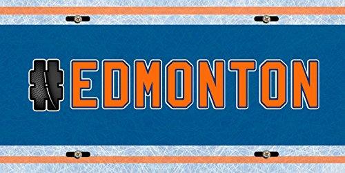 (BleuReign(TM) Hockey Team Hashtag Edmonton #Edmonton Car Vehicle License Plate Auto Tag)