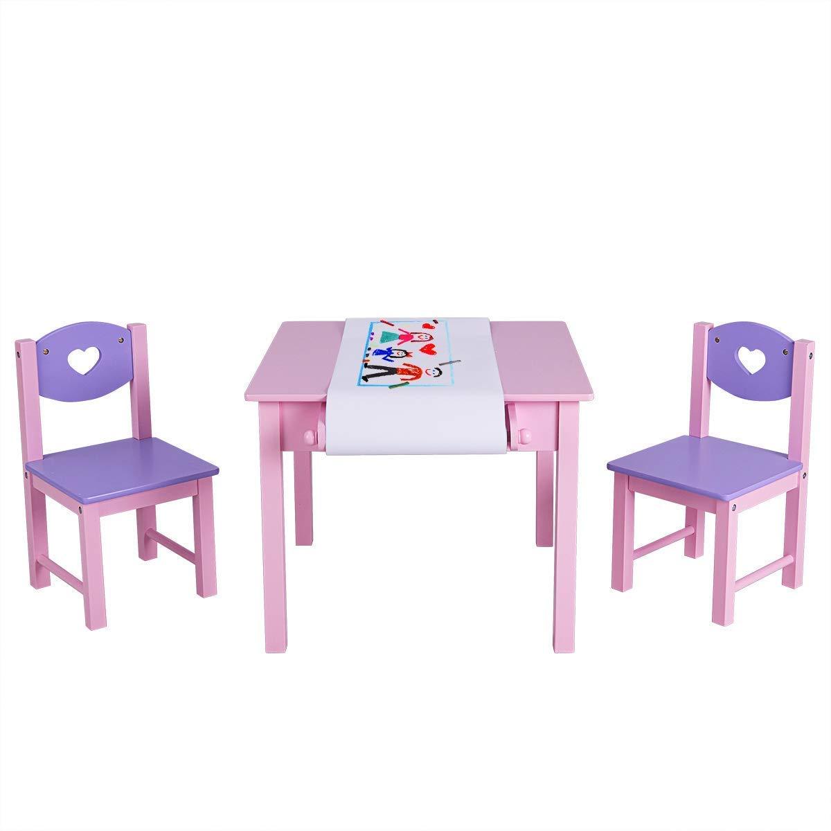 BABY JOY Juego de Mesa y 2 sillas con Estante de Papel y 2 ...