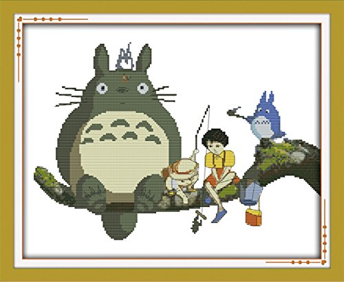 "WHEEXLOCK criss cross stitch Totoro 11 Count 21.3""X 17.3"""
