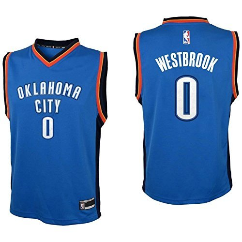 - Outerstuff Youth Russell Westbrook Oklahoma City Thunder #0 Road Jersey Blue (Youth Large 14/16)
