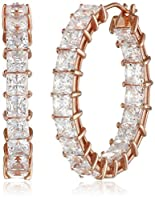Plated Sterling Silver Swarovski Zirconia Princess Hoop Earrings from Amazon Curated Collection