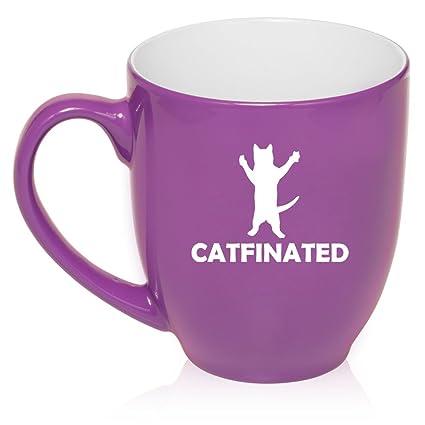 16 oz Large Bistro Mug Ceramic Coffee Tea Glass Cup Catfinated Funny Cat  Caffeine (Purple