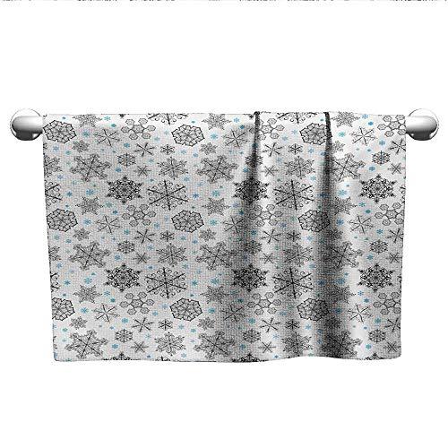 (Bensonsve Style Towel Snowflake,Lace Style Arrangement of Snowflakes Winter Season Christmas Illustration,Blue Black White,Hooded Poncho Towel for Kids)