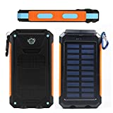 FST Dual USB Port Portable Solar Charger 20000mAh High Capacity Solar Power Bank High-Speed Charging LED Lamp 5V Waterproof External Battery Portable Charger For iPhone Android Samsung Tablet PC And USB Devices