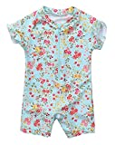 Maysoul Baby Girls Short Sleeve Rash Guards Floral Zipper Sun Suit 12 Months