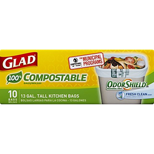 Glad OdorShield Tall Kitchen 100% Compostable Trash Bags - Fresh Clean - 13 Gallon - 10 Count