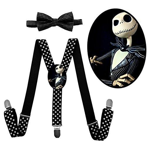 Oogie Boogie Boys Costume (LSL Jack Skellington Suspender+Bow Tie/Unisex Suspender/Adjustable Suspender/Y-Back Suspender(Black))