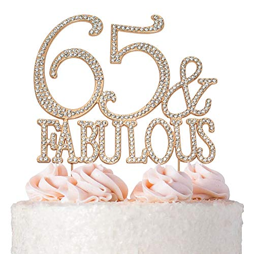 65 and Fabulous Cake Topper | ROSE GOLD | Birthday or Anniversary | Premium Diamond Crystal Rhinestones | Monogram Number Forty | 65th Birthday or Anniversary Party Supply Decoration Ideas | Keepsake -