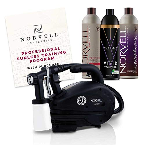 Self Tanning System (Norvell Sunless Kit - M1000 Mobile HVLP Spray Tan Airbrush Machine + 8 oz Tanning Solutions in Ultra Vivid 'Cosmo', Venetian and Dark + Norvell Training Program (Retail Value $490))
