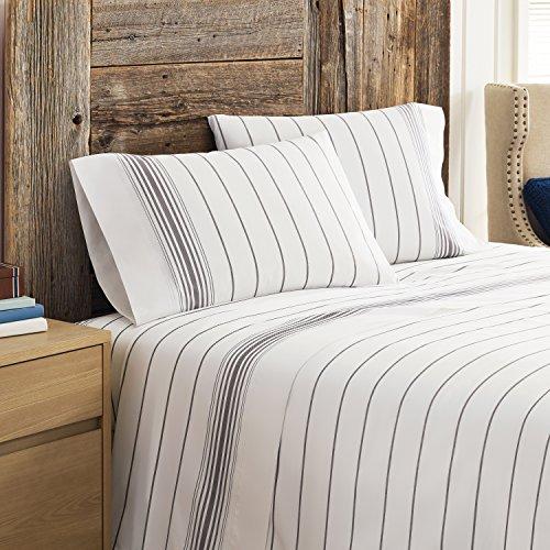 Tommy Hilfiger Buckaroo Stripe Pillowcase, King, White/Charcoal -  Homestead Intl, TH5627
