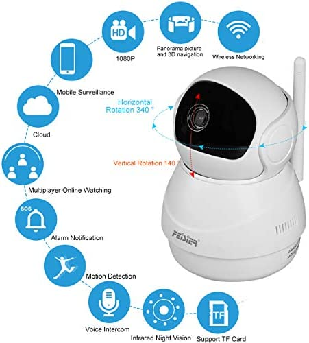 FEISIER Dome Camera 1080P WiFi Pet Camera,Wireless 2MP Home Security Surveillance Video Home Indoor Camera with Pan and Tilt, Two Way Audio Night Vision Ball