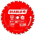Freud D0724X Diablo 7-1/4-Inch 24 Tooth ATB Carbide Framing Saw Blade with 5/8-Inch and Diamond Knockout Arbor by Freud