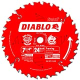 #10: Freud D0724X Diablo 7-1/4-Inch 24 Tooth ATB Carbide Framing Saw Blade with 5/8-Inch and Diamond Knockout Arbor