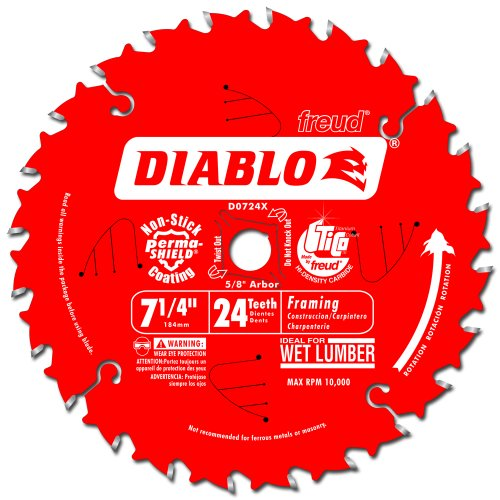 (Freud D0724X Diablo 7-1/4-Inch 24 Tooth ATB Carbide Framing Saw Blade with 5/8-Inch and Diamond Knockout Arbor)
