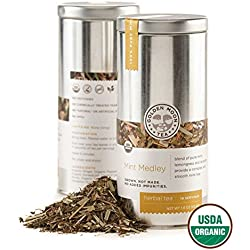 Golden Moon Tea - Mint Medley Tea - Organic - Caffeine Free - Loose Leaf - Non GMO - 1.6oz Tin - 20 Servings
