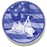 Fox Terrier and Puppy: Danish Blue Porcelain Plate #3085