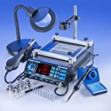 """""""ALL IN ONE"""" X-TRONIC - MODEL #5040-XTS HOT AIR REWORK SOLDERING IRON STATION & PREHEATING STATION - 4 Hot Air Nozzles - 10 Asst. Solder Tips - Pinpoint Tweezers - IC Popper, Gootwick - FREE 5X Mag Lamp - """"THIS IS A USA EXCLUSIVE PRODUCT""""!"""