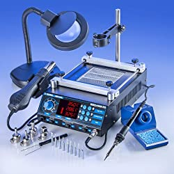 """ALL IN ONE"" X-TRONIC - MODEL #5040-XTS HOT AIR REWORK SOLDERING IRON STATION & PREHEATING STATION - 4 Hot Air Nozzles - 10 Asst. Solder Tips - Pinpoint Tweezers - IC Popper, Gootwick - FREE 5X Mag Lamp - ""THIS IS A USA EXCLUSIVE PRODUCT""!"