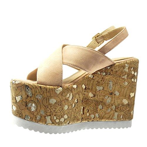 5 Angkorly Plataforma plataforma CM Zapatillas Moda 12 dorado Rosa de mujer corcho de Talón zapatillas fantasía Sandalias Mules qHqSZxOrw