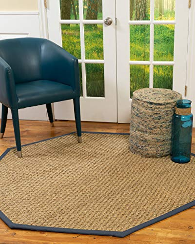 NaturalAreaRugs 100% Natural Fiber Handmade Basketweave, 7' Octagon Beige Seagrass Rug, Marine -