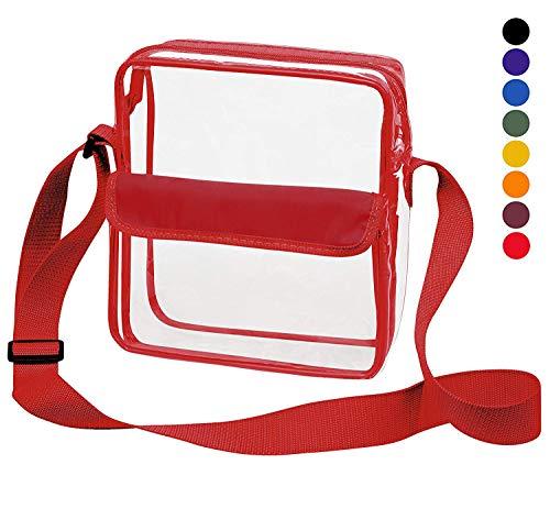 Clear Crossbody Messenger Shoulder Bag with Adjustable Strap Clear Bag Stadium Approved for NFL Games (Red)
