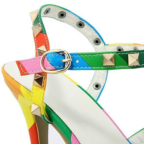 AllhqFashion Mujeres Puntera Abierta Hebilla Pu Sólido Tacón de aguja Sandalia Varios Colores