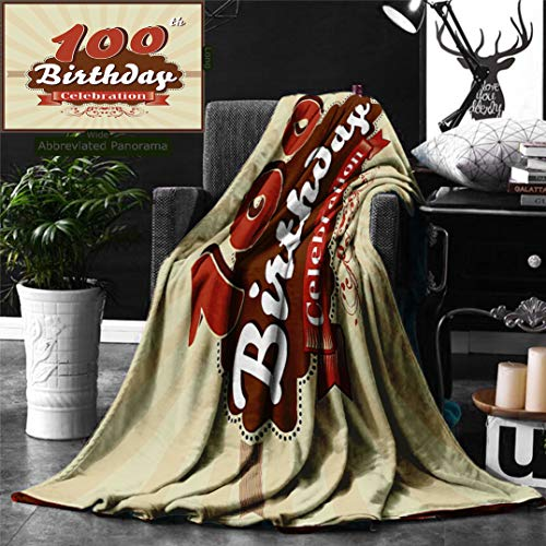 Unique Custom Digital Print Flannel Blankets 100Th Birthday Decorations Chocolate Wrap Like Brown Party Invitation Hundred Year Super Soft Blanketry for Bed Couch, Throw Blanket 60 x 50 Inches]()