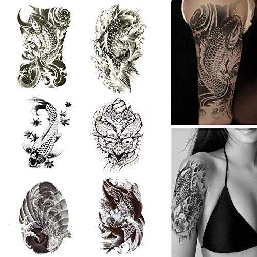Koi Fish Temporary Tattoos Large Fake Tattoo Stickers Black and White Fish with Lotus for Men Women Arm Shoulder Body Make Up Set -