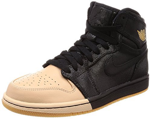 Women's Air Jordan 1 Retro High Prem Tan Toe Black/Gold (9 B(M) US) by NIKE