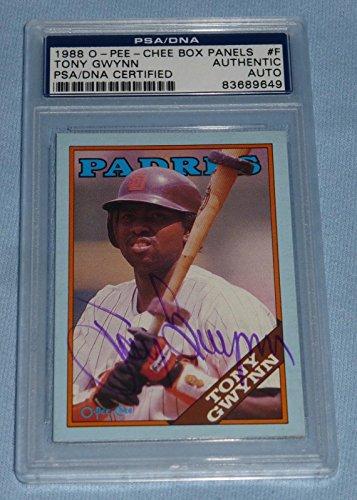 Tony Gwynn Signed 1988 Topps O-Pee-Chee Box Panels Baseball Card #F COA - PSA/DNA Certified - Baseball Slabbed Autographed Cards
