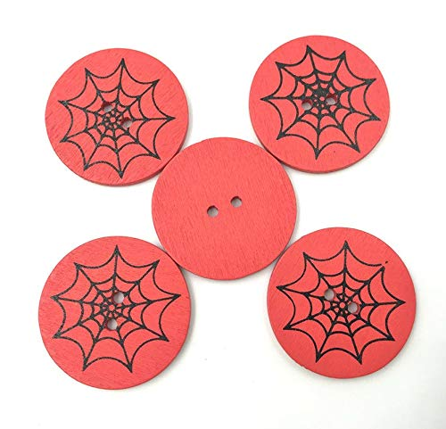 Maslin DIY 100PCS Halloween Buttons Round Spider Web Pattern Wooden Sewing Scrapbooking 30mm