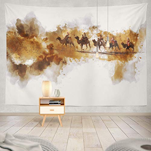 KJONG and People Walking Sand Desert Silk Road Digital Watercolor Camel Art Decorative Tapestry,60X80 Inches Wall Hanging Tapestry for Bedroom Living Room