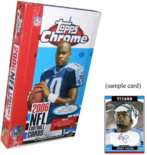 2006 Topps Chrome Card (2006 Topps Chrome Football Cards Unopened Hobby Box (24 packs/box, 4 cards/pack) - 1 Rookie Autograph Per Box plus 1 Encased Refractor Box-Topper Per Box- Randomly inserted refractors and other great inserts!! Look for rookie autographs of Reggie Bush, Matt Leinart, Vince Young, DeAngelo Williams, Joseph Addai, Jay Cutler, Lendale White, and more!)