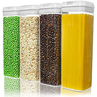 Numyton Airtight Food Storage Container Set of 4 with Lids made by Durable BPA-free Plastic for Pantry Storage and Organization