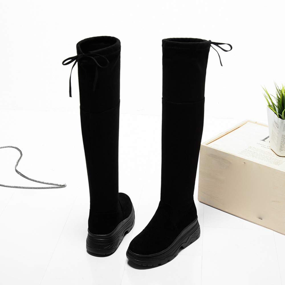 Sunmoot Suede Stretch Over The Knee Boots Women Flat Lace Up Thick Bottom Skinny Shoes Sunmoot-Shoes-11