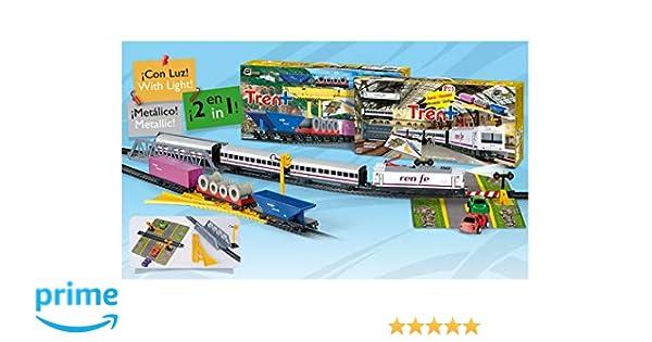 ONOGAL Tren Electrico RENFE Metalico con LUZ de Viajeros y Mercancias 905