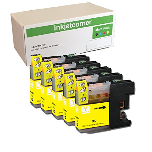 Inkjetcorner 5 YELLOW Compatible Ink Cartridges + Chip Replacement for LC203Y LC203XL MFC-J460DW MFC-J480DW MFC-J485DW MFC-J680DW MFC-J880DW MFC-J885DW by Inkjetcorner