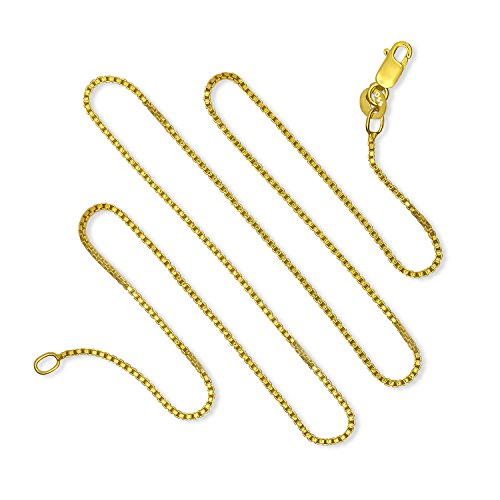 Silver Gold Plated Box - 925 Sterling Silver 1MM Gold Plated Italian Box Chain Lobster Claw Clasp 24