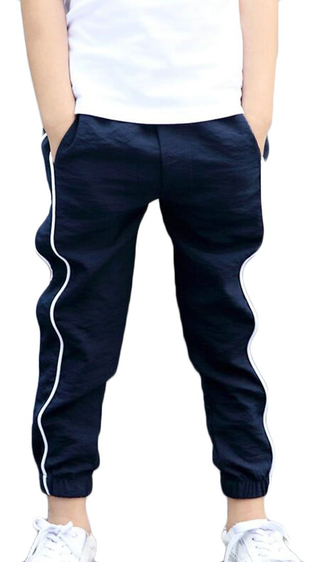 Lutratocro Boys Ankle Length Casual Jogger Pants Summer Comfort Elastic Wasit Pants Navy Blue 4