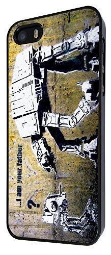 548 - Banksy Grafitti Art Star War Robot Design iphone 5 5S Coque Fashion Trend Case Coque Protection Cover plastique et métal - Noir