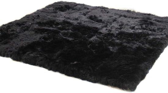 Elhouse Home Decor Rectangle Square Rugs Faux Fur Sheepskin Area Rug Shaggy Carpet Fluffy Rug for Baby Bedroom,5ftx6ft,Black