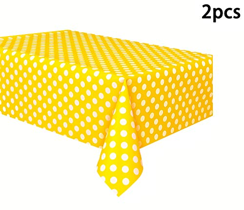 Yellow Polka Dot Tablecloth (Vpang 2 Pcs Polka Dot Plastic Tablecloth Disposable Table Cover Thickened Rectangle Tablecover for Kitchen Picnic Wedding Birthday Party Catering Events, 54