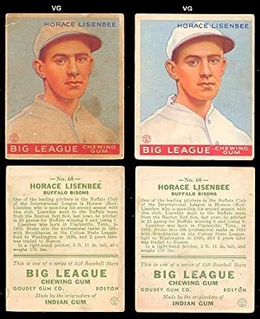 1933 Goudey Regular Baseball Card 68 Horace Lisenbee Of
